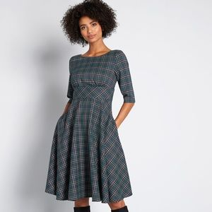 Hell Bunny Miss exceptional Plaid A-Line Dress